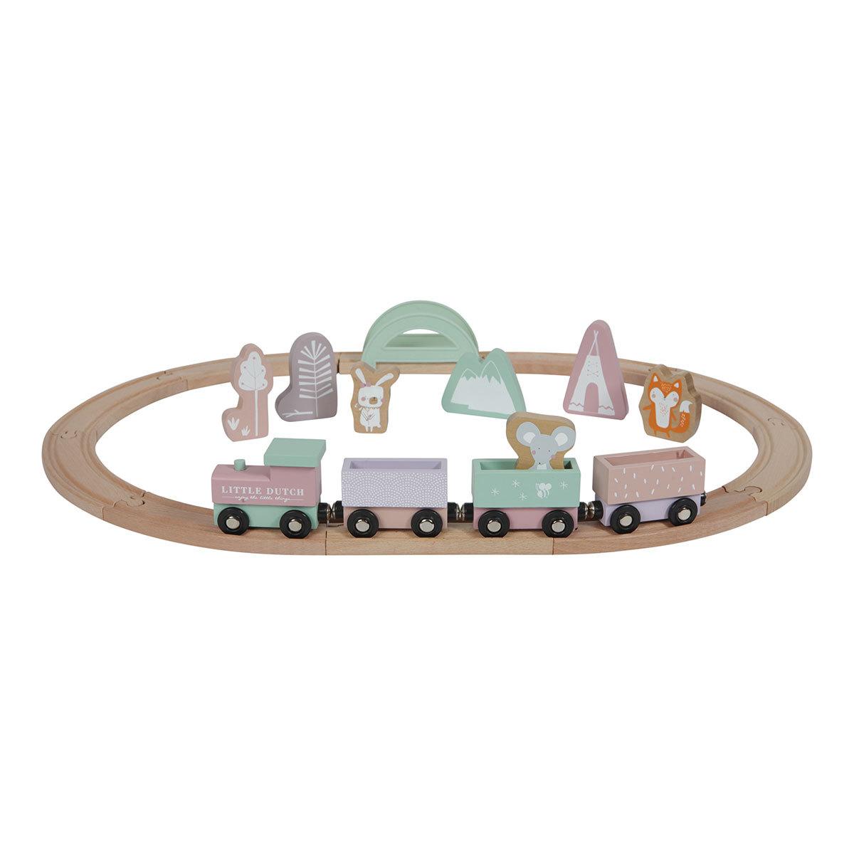 Mes premiers jouets Circuit Train en Bois - Rose