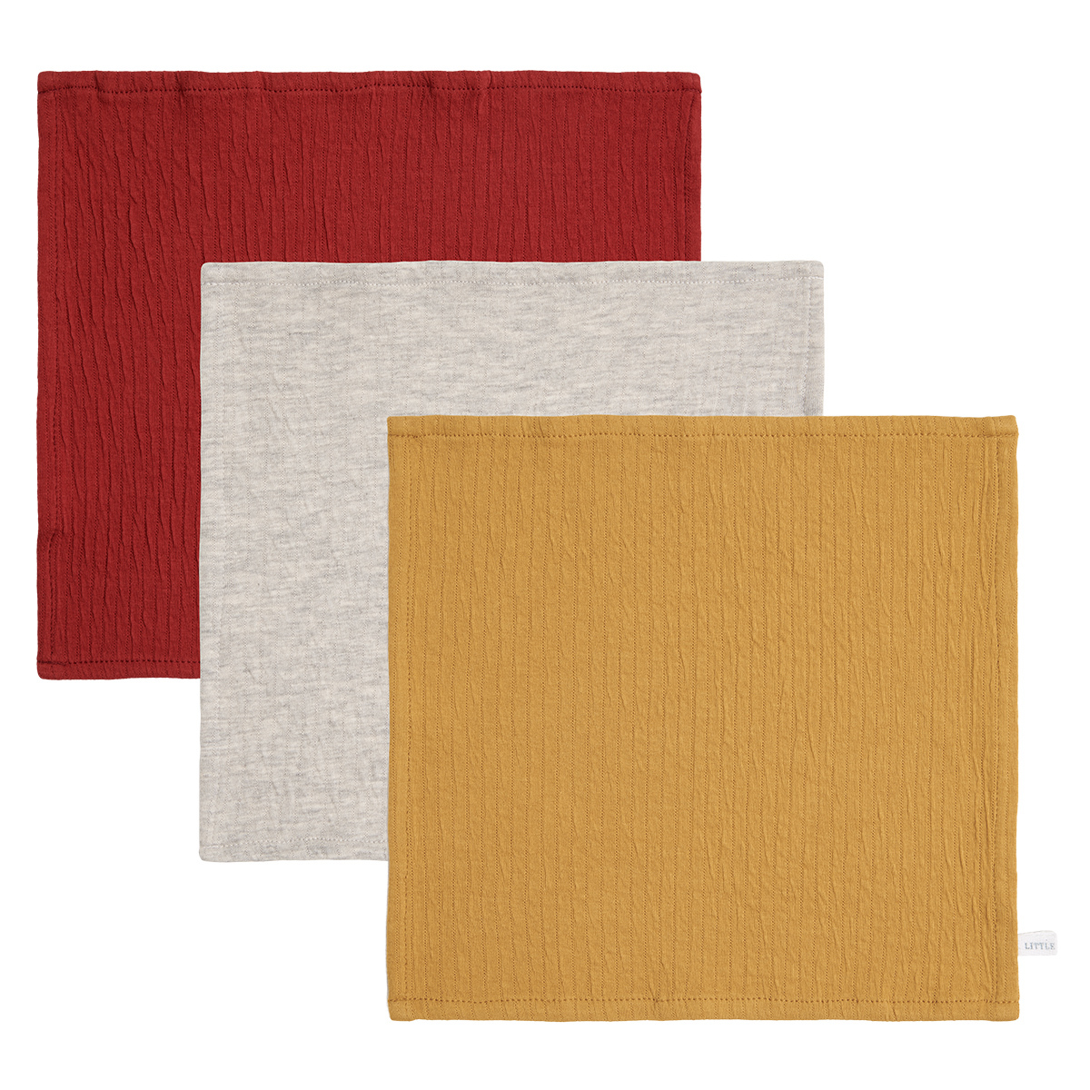 Gant de toilette Lot de 3 Lingettes Pure - Indian Red, Grey & Ochre