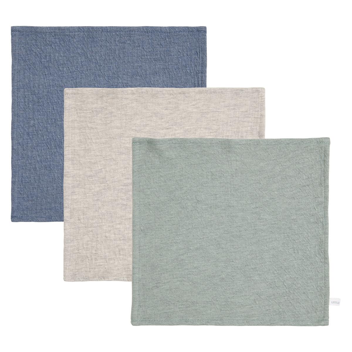 Gant de toilette Lot de 3 Lingettes Pure - Blue, Grey & Mint Lot de 3 Lingettes Pure - Blue, Grey & Mint