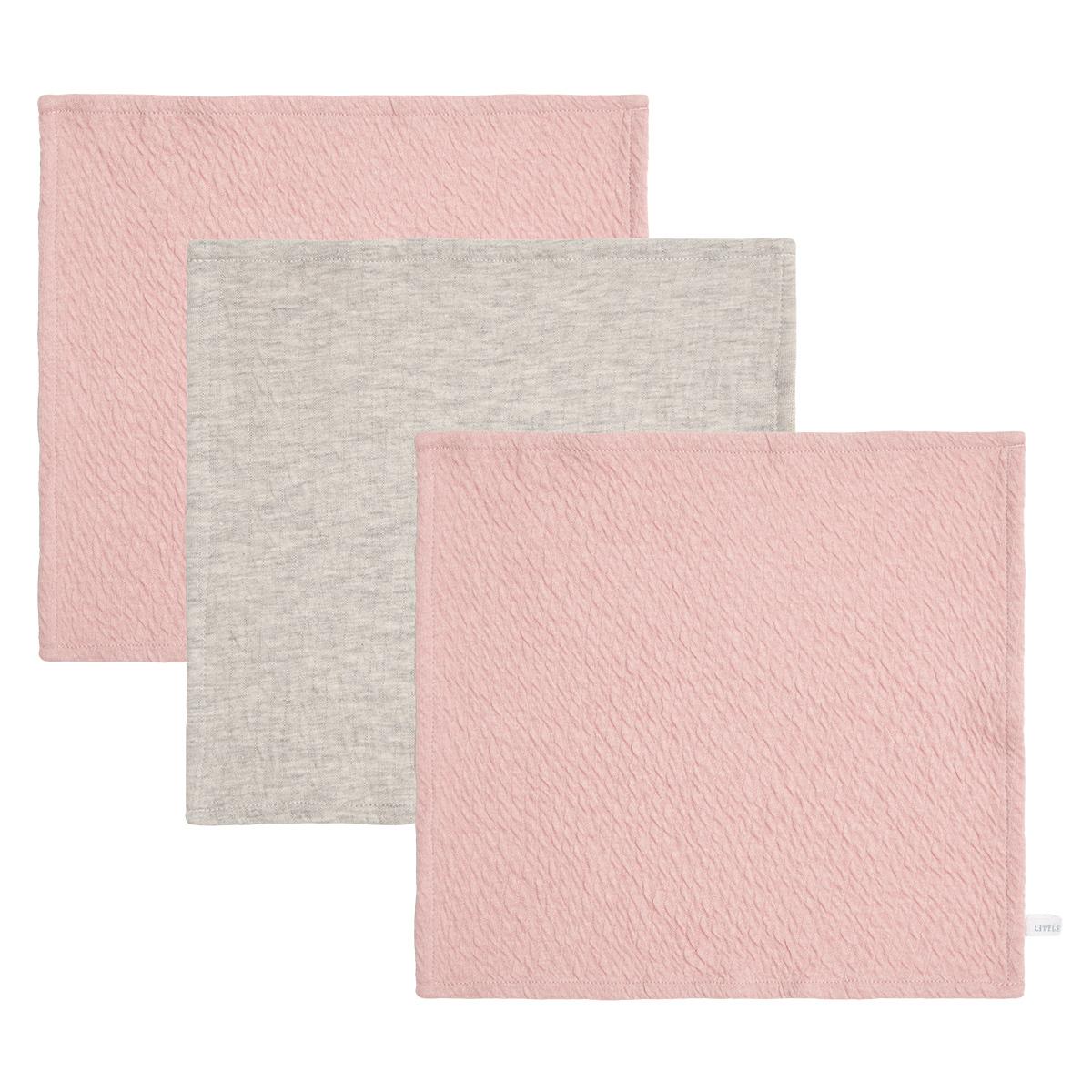Gant de toilette Lot de 3 Lingettes Pure - Pink, Grey & Pink