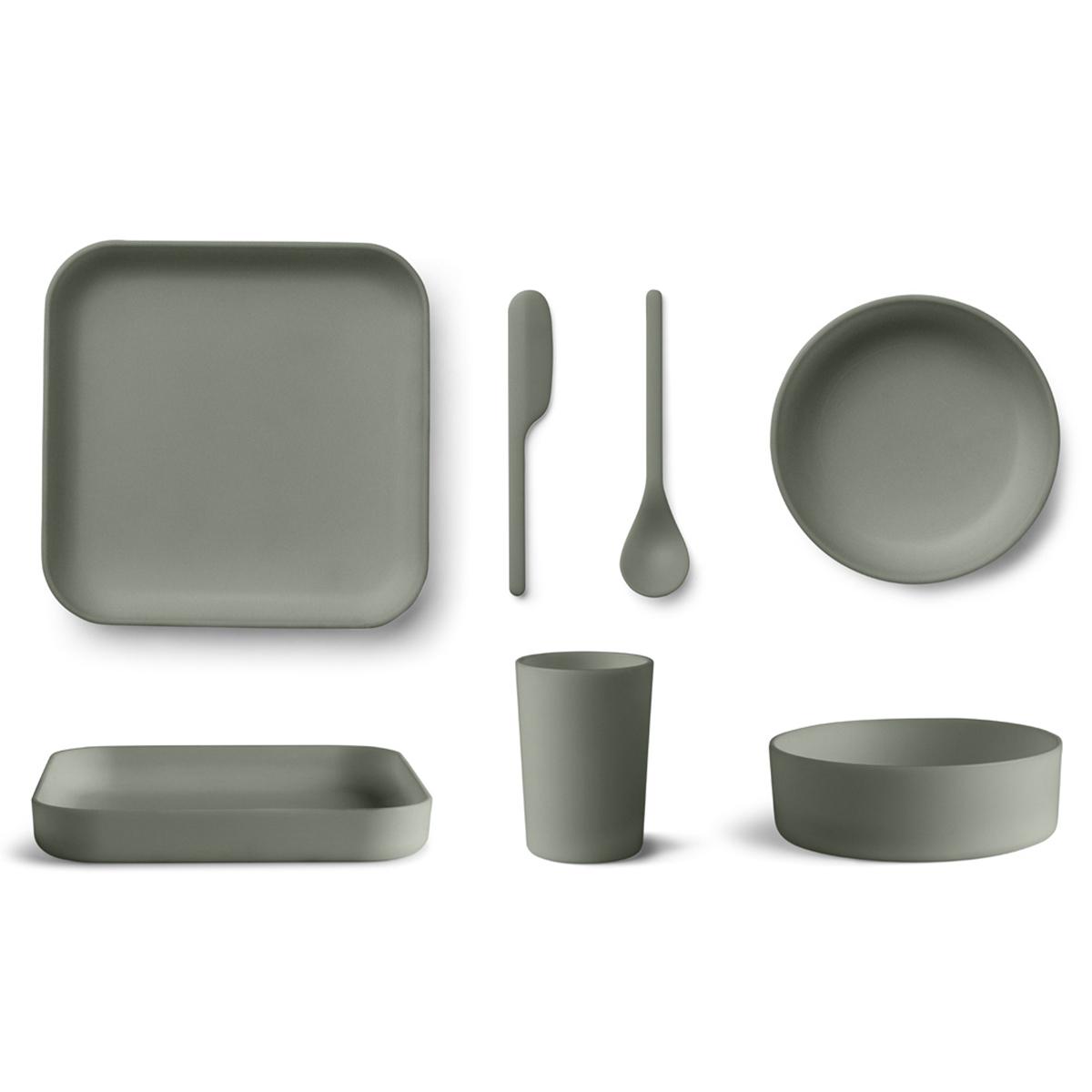 Coffret repas Coffret de Vaisselle 5 Pièces Bamboo Aiko - Faune Green