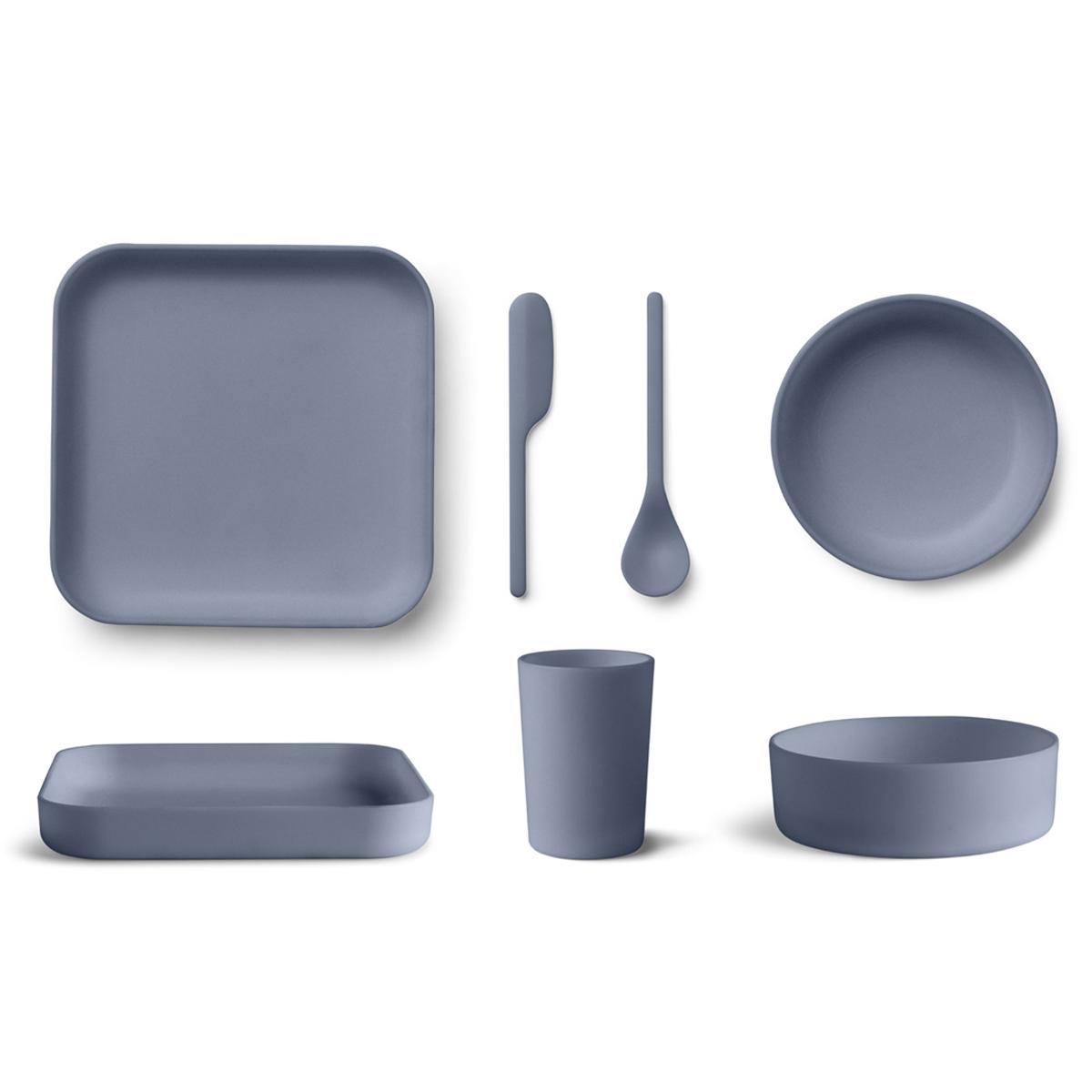 Coffret repas Coffret de Vaisselle 5 Pièces Bamboo Aiko - Blue Wave Coffret de Vaisselle 5 Pièces Bamboo Aiko - Blue Wave