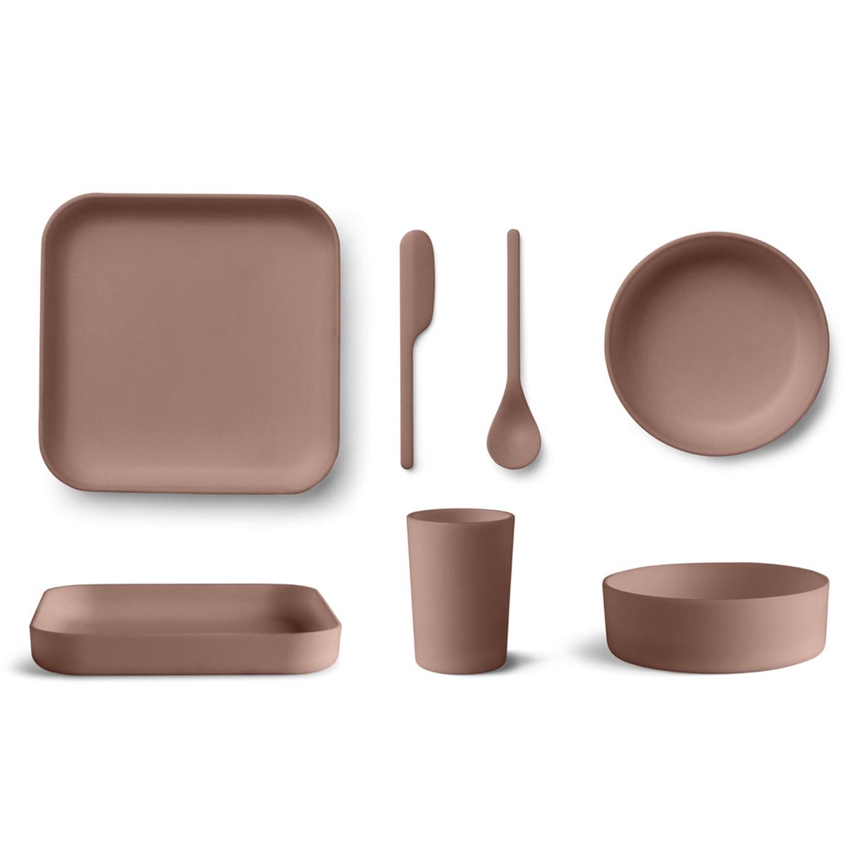 Coffret repas Coffret de Vaisselle 5 Pièces Bamboo Aiko - Dark Rose Coffret de Vaisselle 5 Pièces Bamboo Aiko - Dark Rose