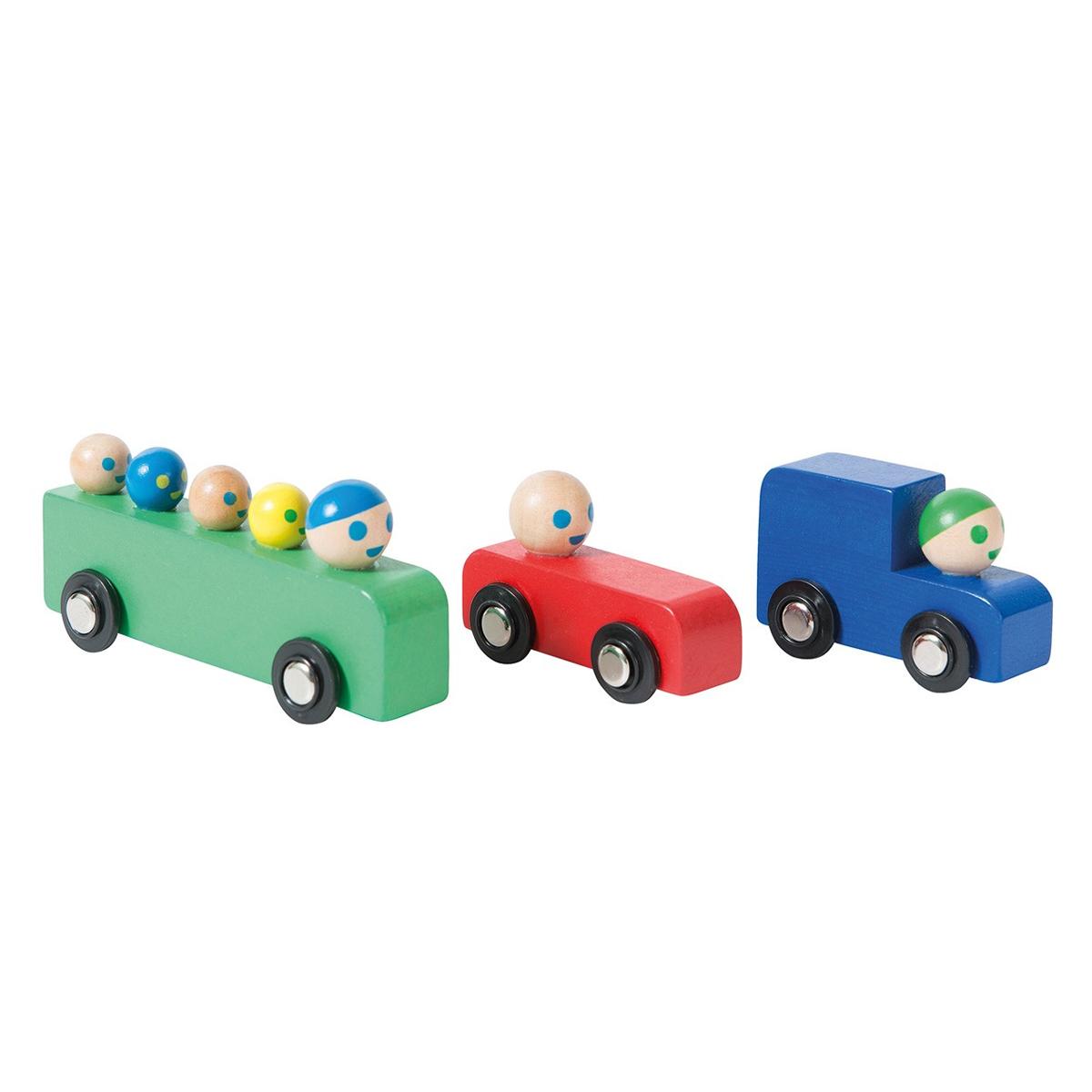 Mes premiers jouets Assortiment de Voitures et Bus en Bois - Dans la Ville Assortiment de Voitures et Bus en Bois - Dans la Ville