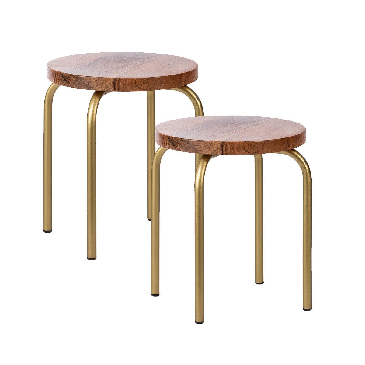 Table & Chaise Lot de 2 tabourets Gold Chic