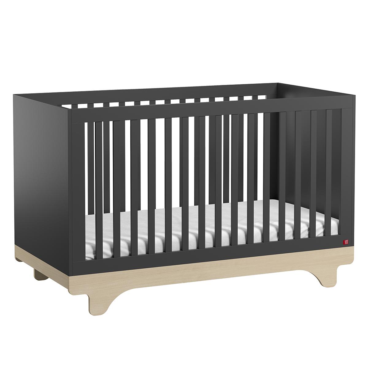 Lit bébé Lit Bébé Evolutif Playwood Graphite et Bois - 70 x 140 cm