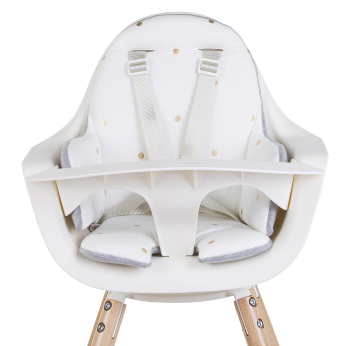 Chaise haute Coussin de Chaise Haute Jersey - Gold Dots