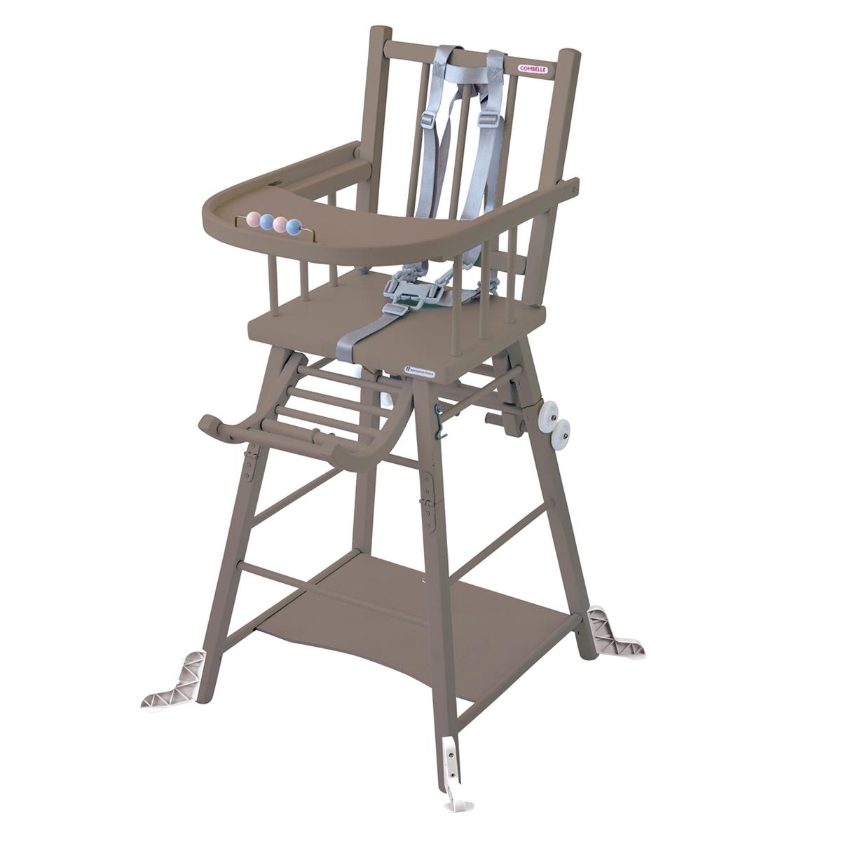 Chaise haute Chaise Haute à Barreaux Transformable Marcel - Taupe Chaise Haute à Barreaux Transformable Marcel - Taupe