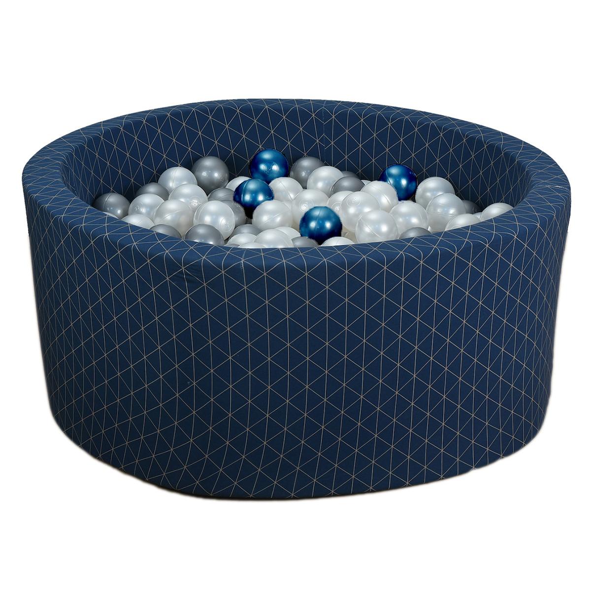 Mes premiers jouets Piscine à Balles Ronde Graphic Chic & Midnight Blue 90 x 40 cm + 200 Balles Piscine à Balles Ronde Graphic Chic & Midnight Blue 90 x 40 cm + 200 Balles