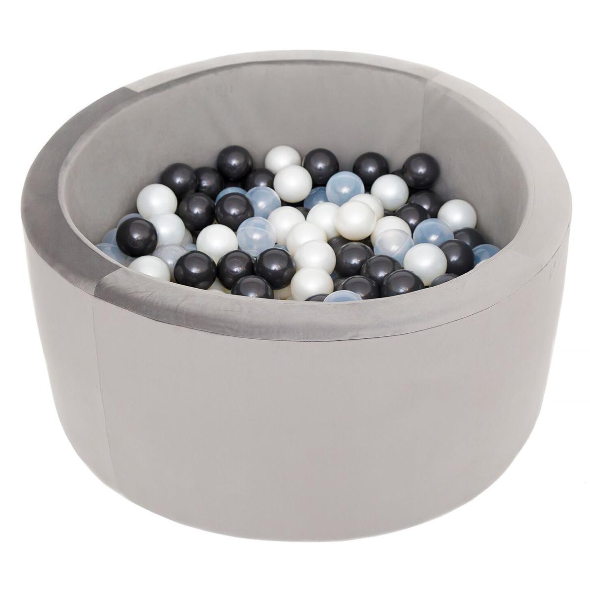 Mes premiers jouets Piscine à Balles Ronde Velvet Grey 90 x 40 cm + 200 Balles