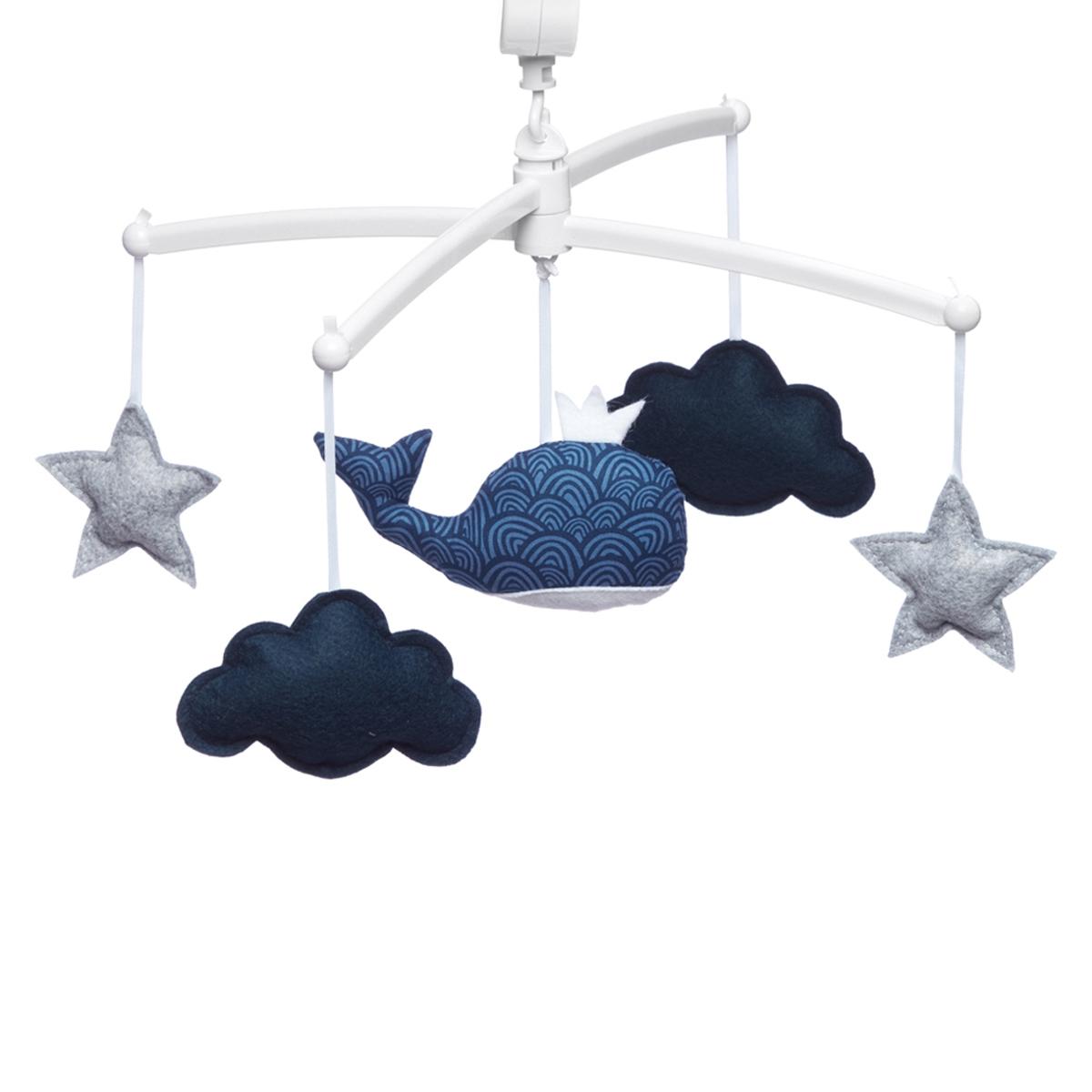 Mobile Mobile Musical Baleine - Bleu Marine et Gris