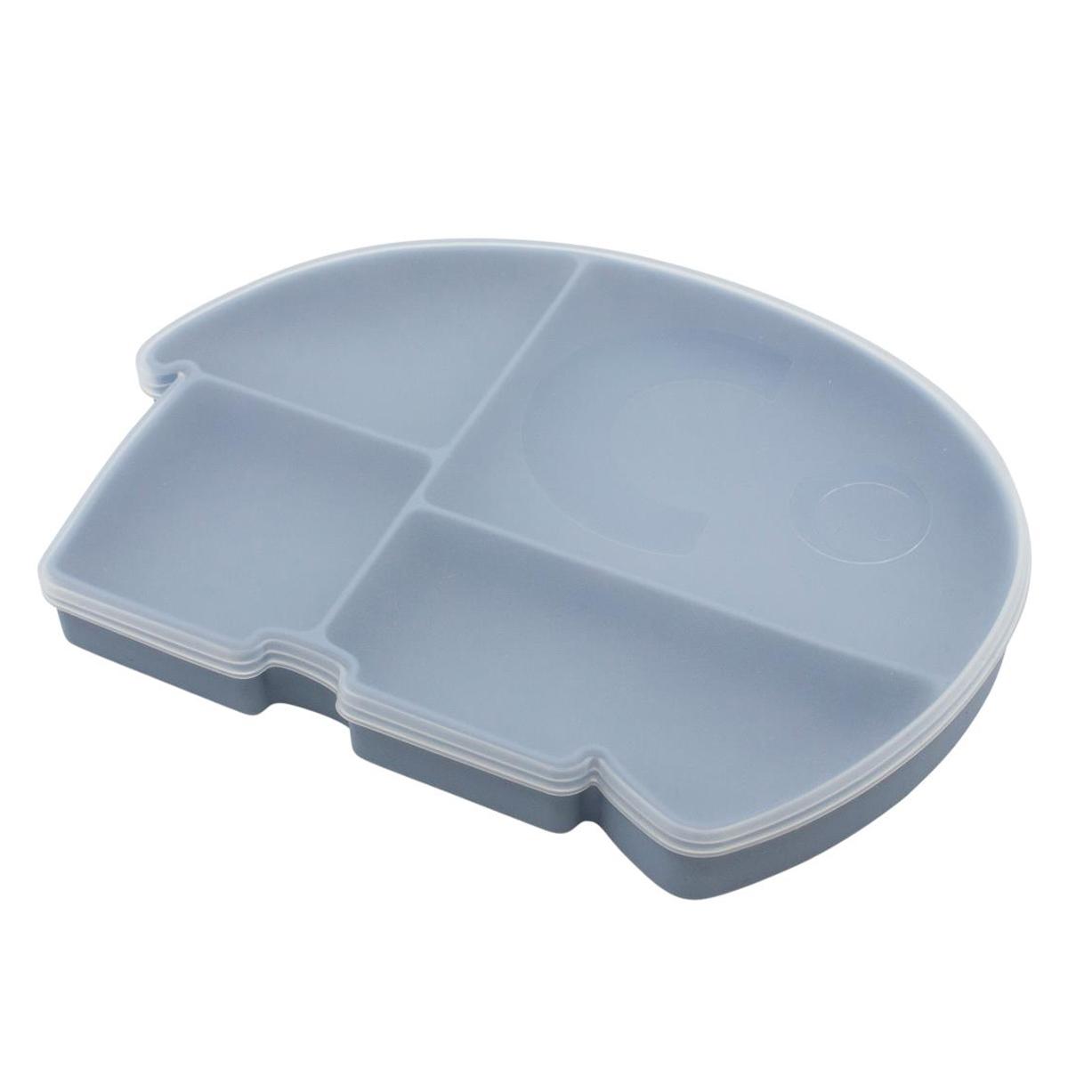 Vaisselle & Couvert Assiette en Silicone avec Couvercle - Bleu