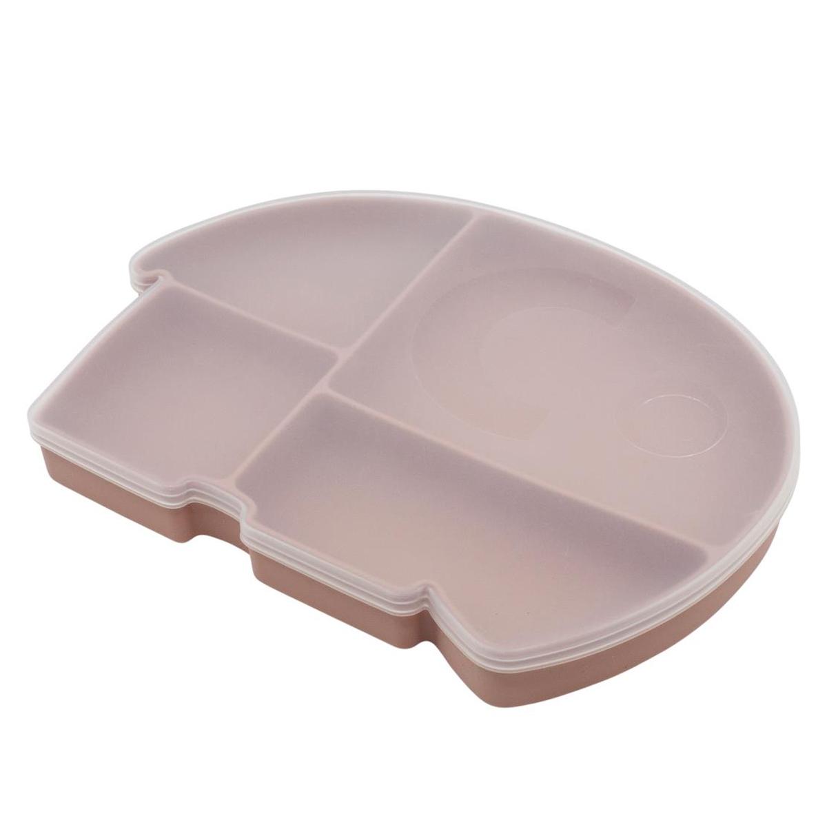 Vaisselle & Couvert Assiette en Silicone avec Couvercle - Rose