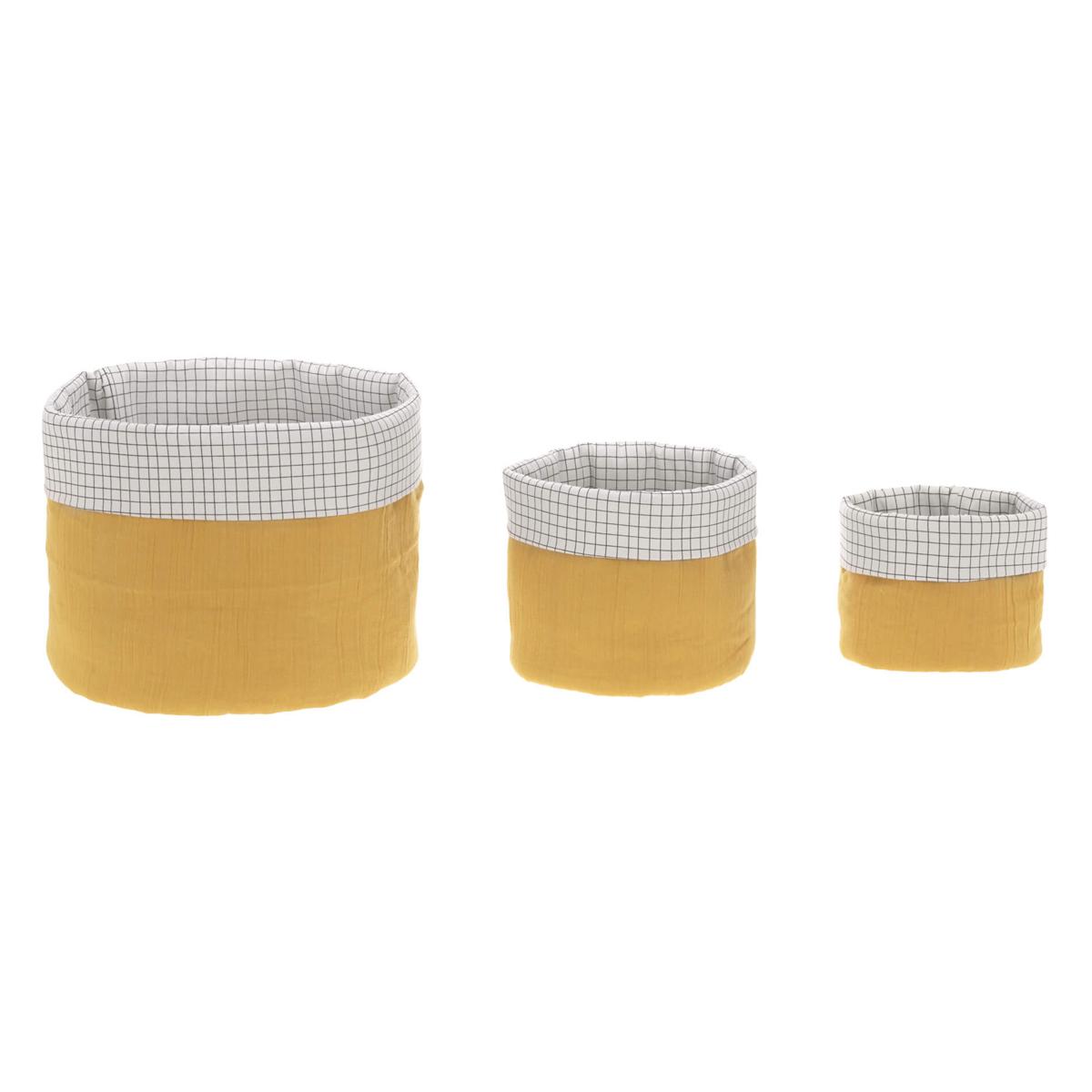 Panier & corbeille Lot de 3 Paniers de Rangement - Moutarde Lot de 3 Paniers de Rangement - Moutarde