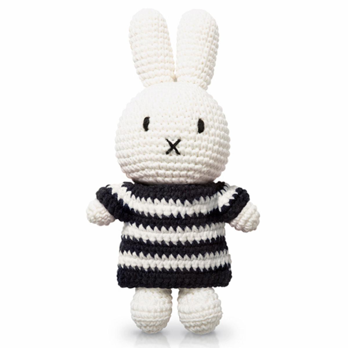 Peluche Miffy Rayures Noires et Blanches - Moyen Peluche Lapin Miffy Rayures Noires et Blanches 25 cm
