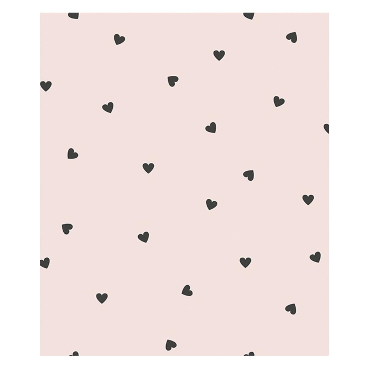 Papier peint Papier Peint Minima - Rose et Coeurs Noirs Papier Peint Minima - Rose et Coeurs Noirs