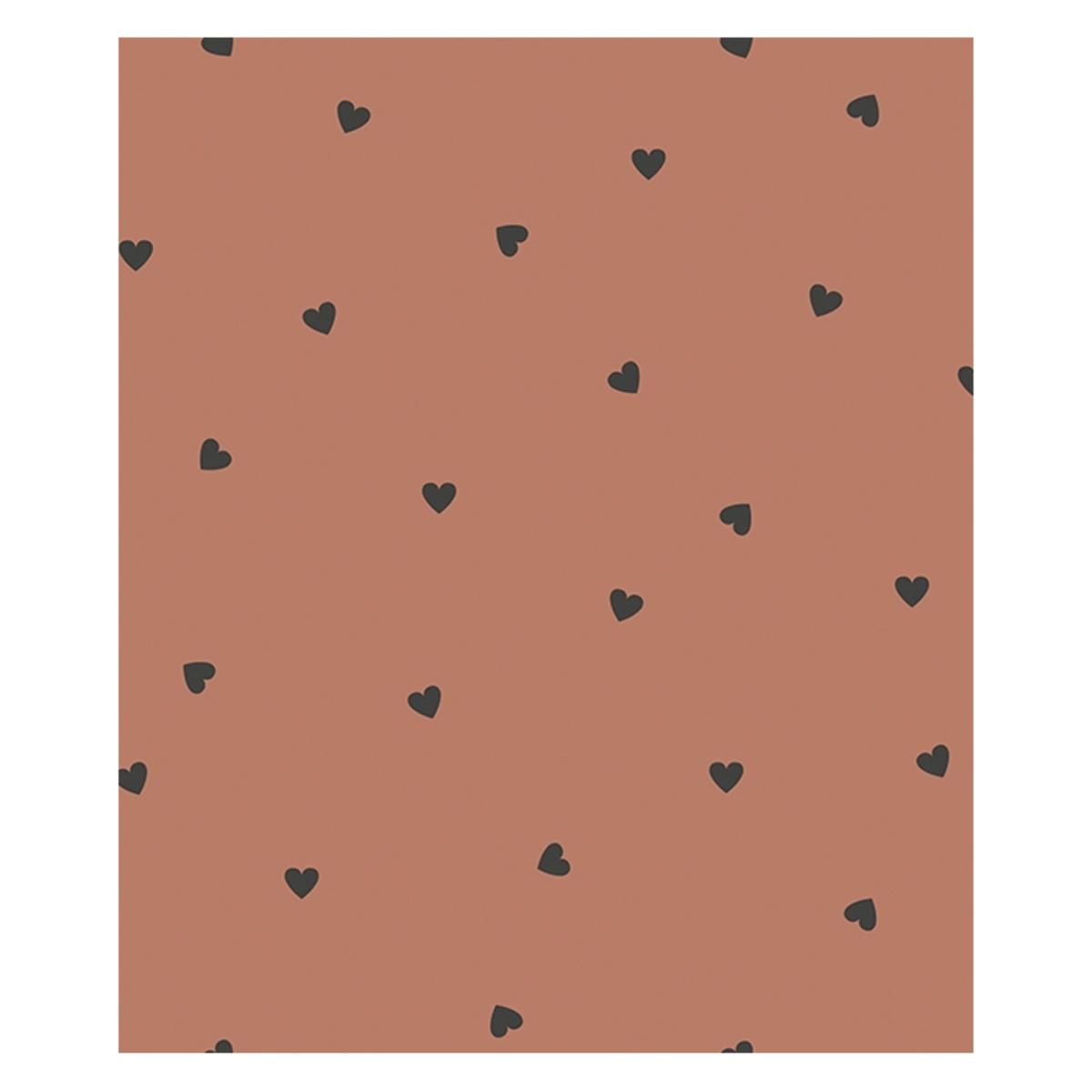 Papier peint Papier Peint Minima - Terracotta et Coeurs Noirs Papier Peint Minima - Terracotta et Coeurs Noirs
