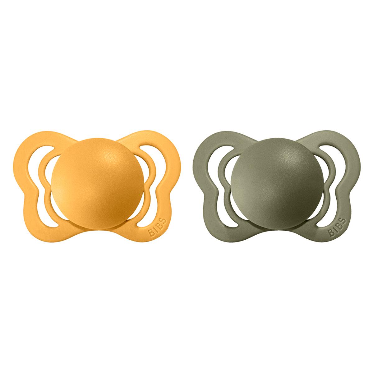 Sucette Lot de 2 Tétines Couture Honey Bee & Olive - 0/6 Mois Lot de 2 Tétines Couture Honey Bee & Olive - 0/6 Mois