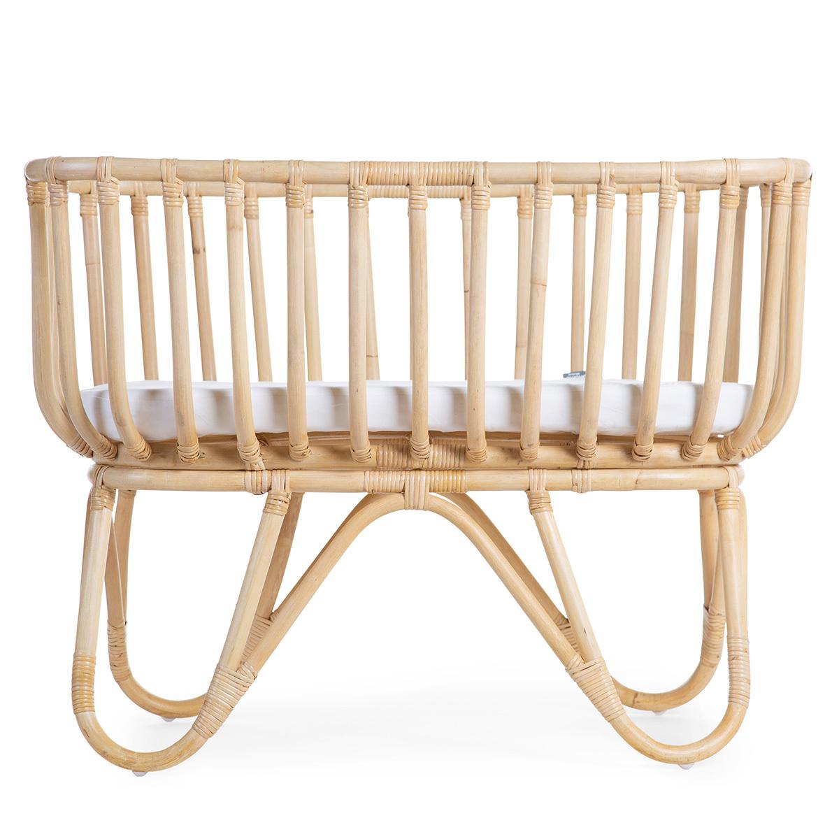 Lit bébé Berceau en Rotin Rectangulaire avec Matelas - Naturel Berceau en Rotin Rectangulaire avec Matelas - Naturel