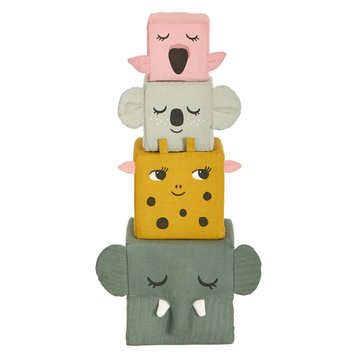 Mes premiers jouets Cubes en Tissu Les Animaux de la Jungle Cubes en Tissu Les Animaux de la Jungle