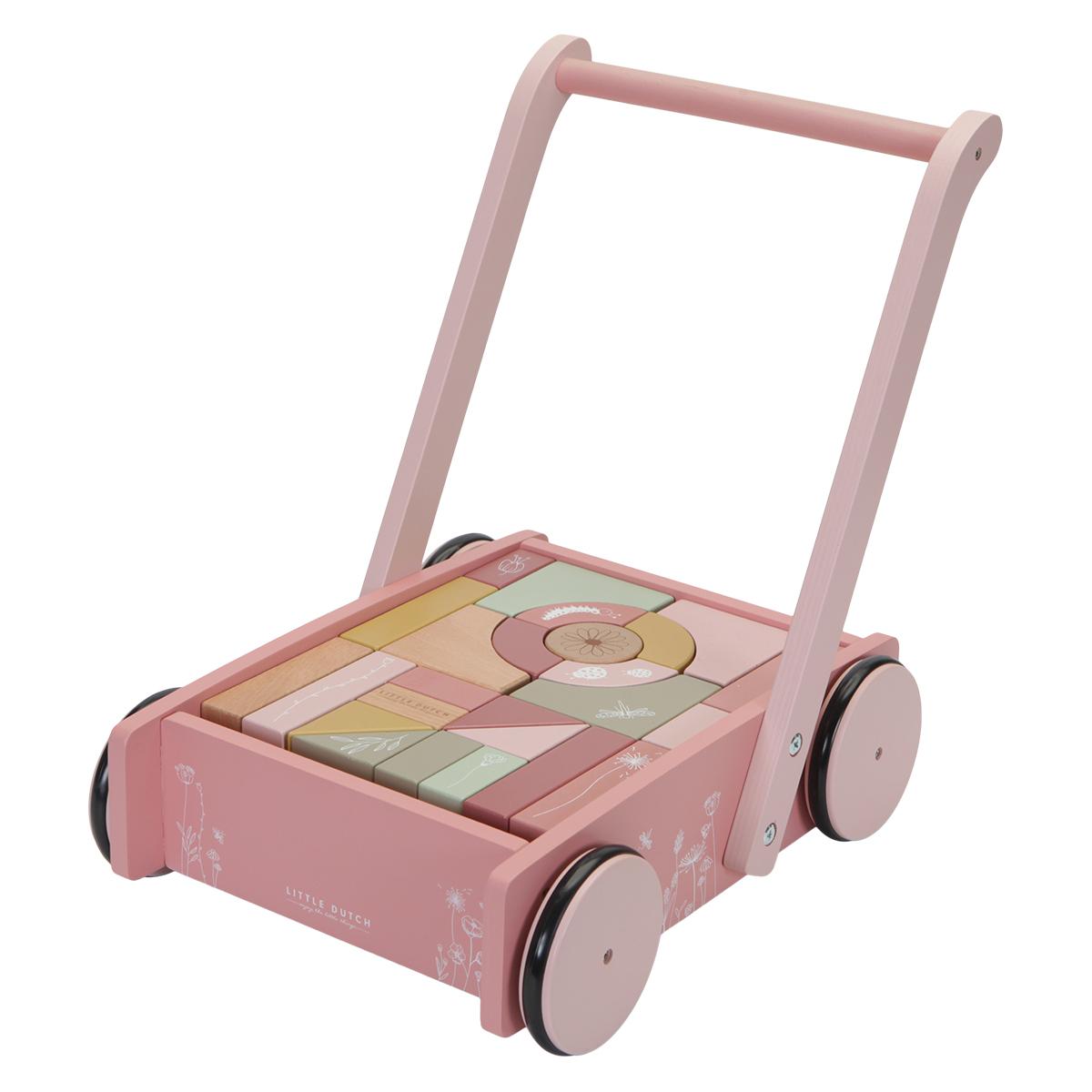 Mes premiers jouets Chariot à Blocs Flowers - Rose Chariot à Blocs Flowers - Rose