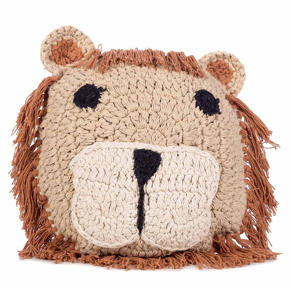Coussin Coussin en Crochet Lion Coussin en Crochet Lion