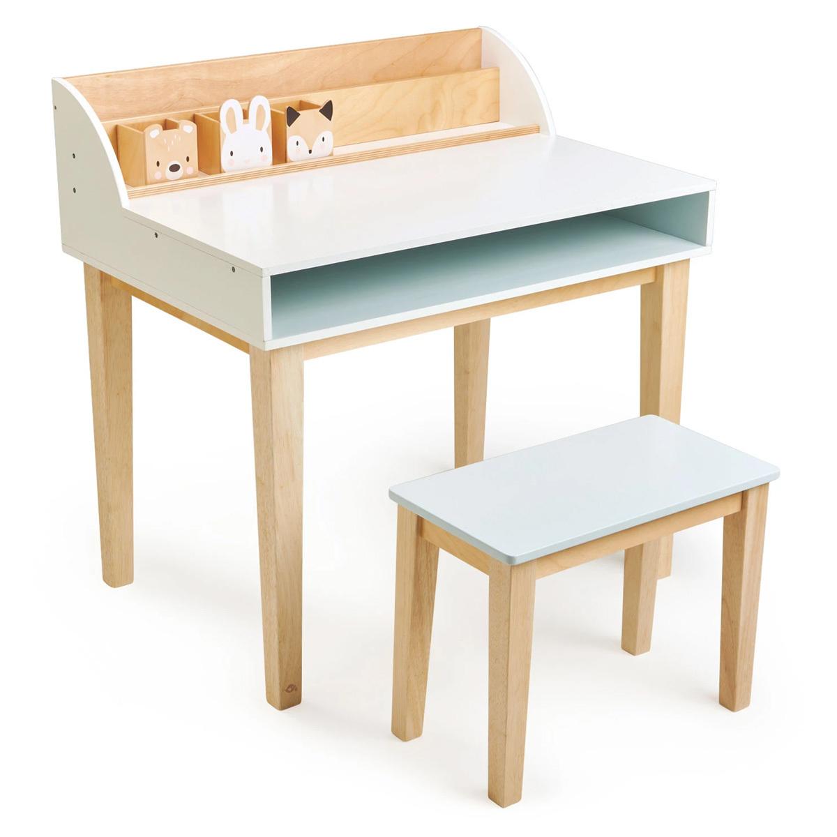 Table & Chaise Bureau et Chaise - Blanc et Naturel Bureau et Chaise - Blanc et Naturel