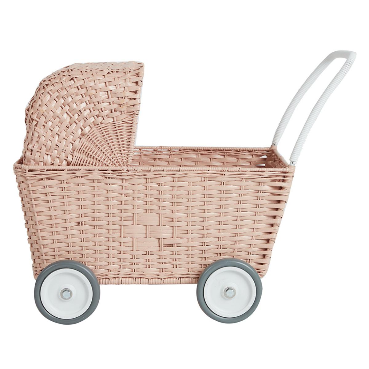 Mes premiers jouets Landau Chariot Strolley en Rotin - Rose Landau Chariot Strolley en Rotin - Rose