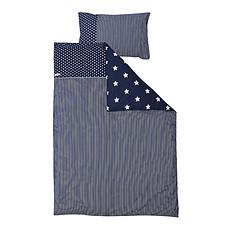 Achat Linge de lit Housse de Couette avec Taie d'Oreiller - 100 x 135 cm - Bleu / Etoiles Blanches