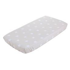 Achat Linge de lit Drap Housse pour Berceau - 40 x 80 cm - Beige avec des Etoiles Blanches