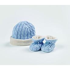 Achat Accessoires Bébé Bonnet et Chaussons Bleus Fourrés (0-6M)
