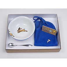 Achat Coffret repas Coffret Bol + Cuillère + Bavoir + carte cadeau Bleu