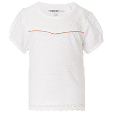 Achat Hauts bébé Tee-shirt Manches Courtes Brodé Blanc MYA  - 6 Mois