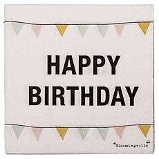 """Achat Vaisselle & Couvert Serviettes en Papier """"Happy Birthday"""" - Fanions (pack de 20)"""
