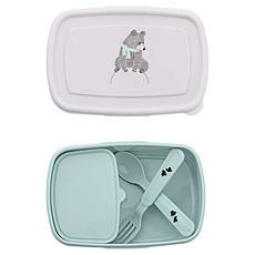 "Achat Vaisselle & Couvert Lunch box + Couverts ""Ours"" - Bleu menthe"