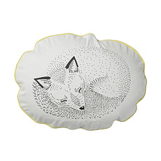 """Achat Coussin Coussin Rond """"Sleeping Fox"""" - Blanc/Jaune"""