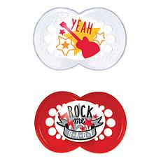 Achat Sucette Lot de 2 Sucettes 18+ mois Rockstar Rouge/Blanc