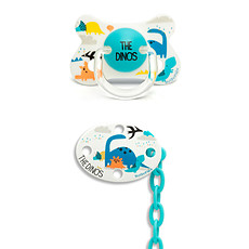 Achat Sucette Sucette Fusion Physio Silicone Dino 4/18 mois + Clip Bleu Total Look