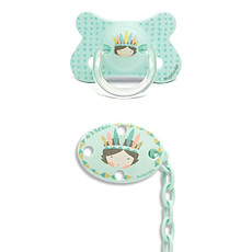 Achat Succion Sucette Fusion Physio Silicone Indien et son Clip Total Look - 4/18 mois - Turquoise