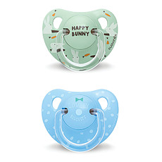 Achat Succion Lot de 2 Sucettes Physio Silicone Bunny & Biscuit +18 mois Bleu Total Look