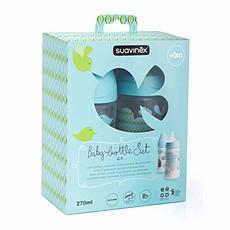 Achat Biberon Pack 2 Biberons 270 ml Silicone Rond 3 Vitesses Turquoise