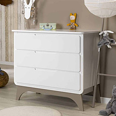 Achat Commode Commode 3 Tiroirs Bonheur Blanc/Lin