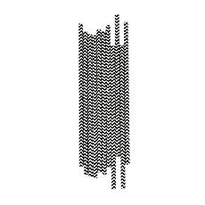Achat Tasse & Verre Pailles - Chevron Noirs (x 25)