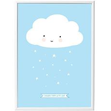 Achat Objet décoration Poster Nuage - Bleu - 50 x 70 cm