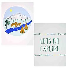 """Achat Affiche & poster Set de 2 affiches """"Let's Explore"""""""