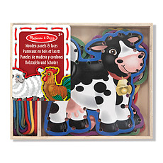 Achat Mes premiers jouets 5 Panneaux en Bois et 5 Lacets Assortis - Animaux de la Ferme