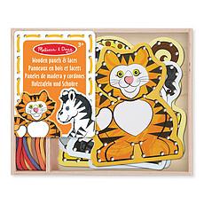Achat Mes premiers jouets 5 Panneaux en Bois et 5 Lacets Assortis - Animaux de la Savane