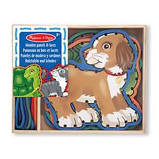 Achat Mes premiers jouets 5 Panneaux en Bois et 5 Lacets Assortis - Animaux de Compagnie