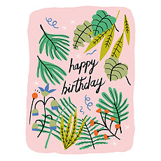 "Achat Anniversaire Carte Double & Enveloppe Tropical ""Happy Birthday"""
