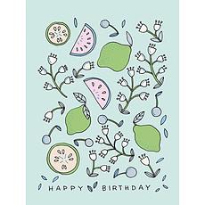 """Achat Anniversaire & Fête Carte Double & Enveloppe Pastèque """"Happy Birthday"""""""